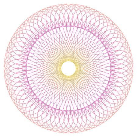 証明書、免状または伝票デザインのラウンドのギョーシェ パターン。ベクトル抽象的な色付きの円フレーム  イラスト・ベクター素材