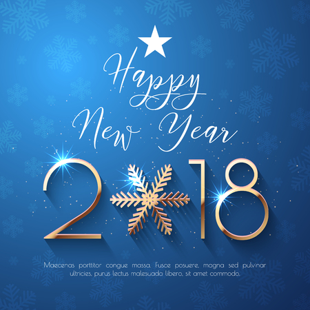 Happy New Year 2018 text design. Vector greeting illustration with golden numbers and snowflake Иллюстрация