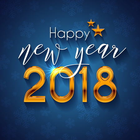 Happy New Year 2018 text design. Vector greeting illustration with golden numbers and snowflake 向量圖像