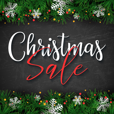 Christmas Sale text design. Vector greeting illustration with fir branches and snowflakes on black chalk board