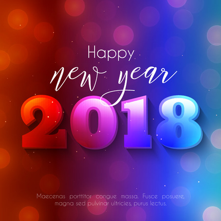 Colorful Happy New Year text design. Vector greeting illustration with 2018 numbers