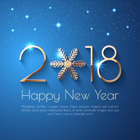Happy New Year 2018 text design. Vector greeting illustration with golden numbers and snowflake Vectores