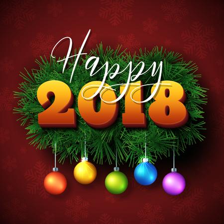 Glückliches 2018 Textdesign. Vector New Year Gruß Illustration Mit ...