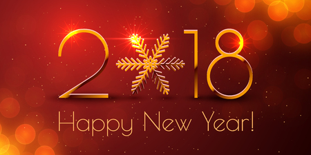 Happy New Year 2018 text design. Vector greeting illustration with golden numbers and snowflake Ilustração