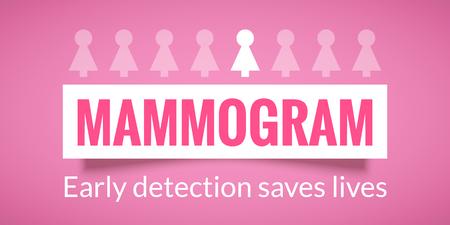 Borst kanker oktober bewustzijn campagne poster. Mammogram informatie. Gezondheidszorg en geneeskunde concept. Vector illustratie