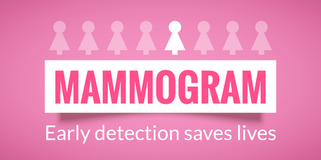 Breast Cancer October Awareness Month Campaign Poster. Mammogram information. Healthcare and medicine concept. Vector illustration Illustration