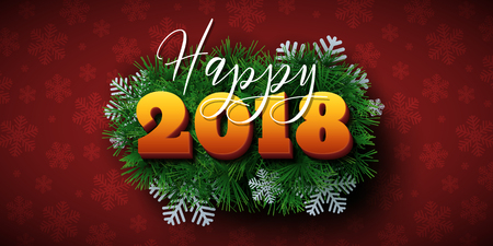 Happy 2018 text design. Vector New Year greeting illustration with colorful numbers, fir branches and snowflakes