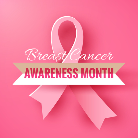 Pink background with paper ribbon symbol of breast cancer october awareness month campaign