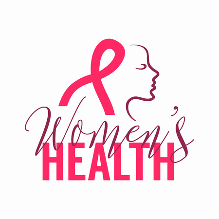Womens health Logo with pink ribbon sign and woman face