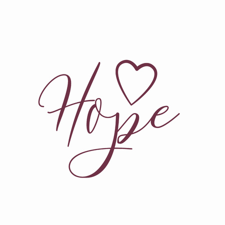 Hope Logo with heart isolated on white