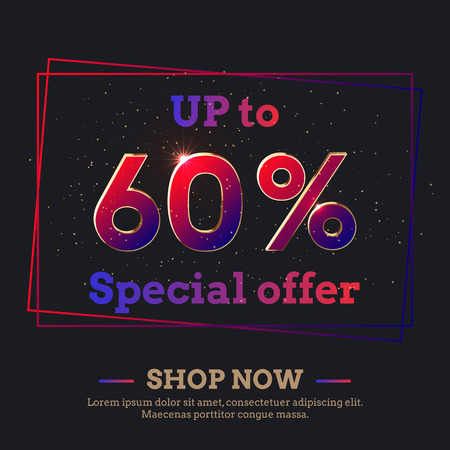Up to 60 Percent Sale Background. Colorful trendy gradient numbers. Lettering - Special offer, Shop now. Dark illustration for Black Friday and other holiday discount actions