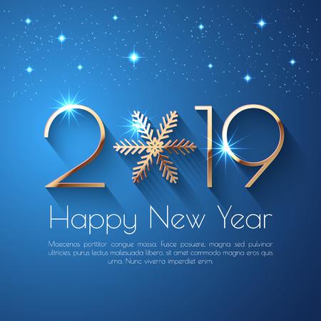 Disegno di testo di felice anno nuovo 2019. Illustrazione di saluto vettoriale con numeri dorati e fiocco di neve