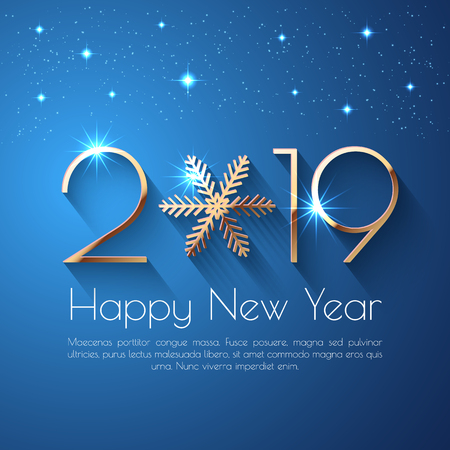 Happy New Year 2019 text design. Vector greeting illustration with golden numbers and snowflake Imagens - 110110577