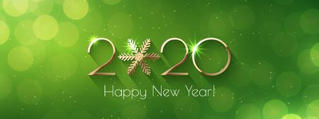 Happy New Year 2020 text design. Vector greeting illustration with golden numbers and snowflake Stock fotó - 130625231