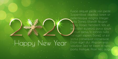 Happy New Year 2020 text design. Vector greeting illustration with golden numbers and snowflake Stock fotó - 130626785