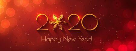 Happy New Year 2020 golden text design