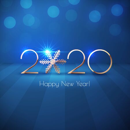 Happy New Year 2020 golden text design