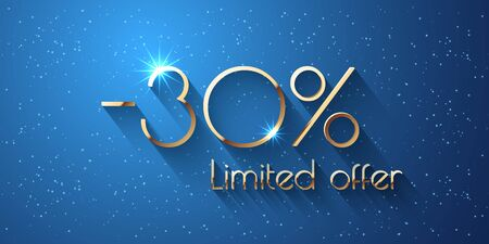 30 Percent Offer Background with golden shining numbers