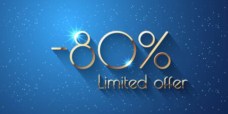 80 Percent Offer Background with golden shining numbers Stock Illustratie