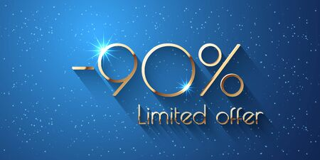90 Percent Offer Background with golden shining numbers