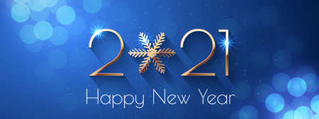 Happy New Year 2021 holiday vector text design