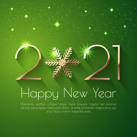 Happy New Year 2021 holiday vector text design 일러스트