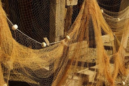 work boat: fishing net Stock Photo