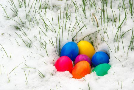 easter eggs in snow Stock Photo - 2764948