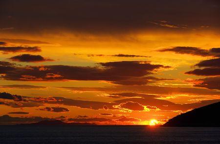 sunset, adriatic sea photo