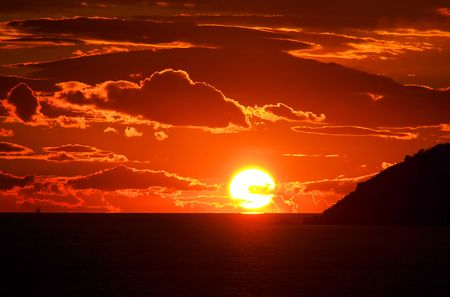 sundown, adriatic sea Stock Photo