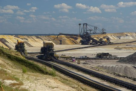 open pit: open pit Welzow Stock Photo