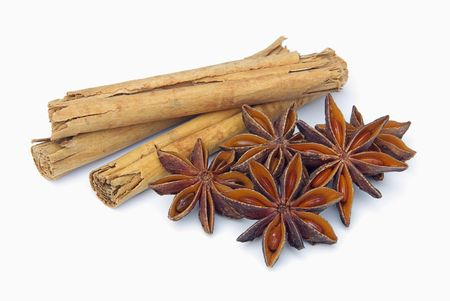 anis: cinnamon stick and star from anis 02 Stock Photo
