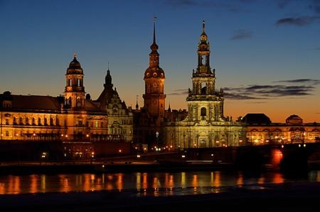 blau: Dresden Altstadt Nacht - Dresden old town night 02 Stock Photo