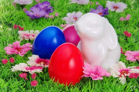 easter eggs on flower meadow Stock Photo - 8069738