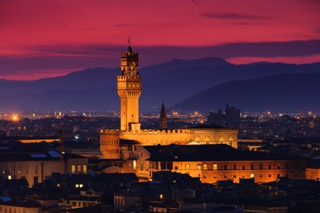 firenze: Florence Palazzo Vecchio evening 02 Stock Photo