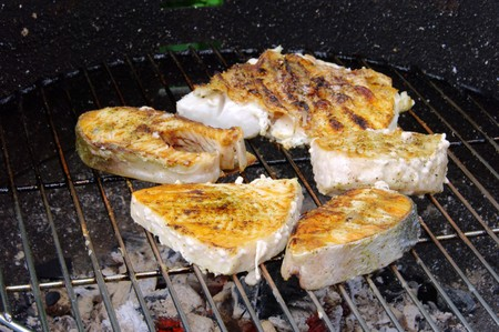 grilling steak from fish  photo