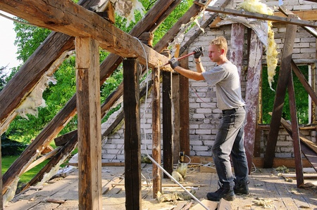 truss: roof truss demolish  Editorial