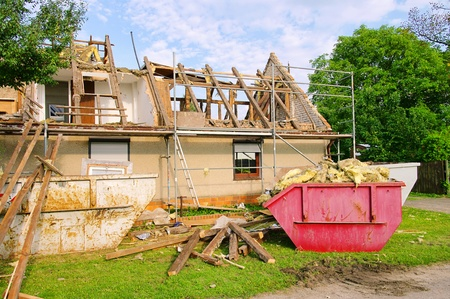damaged houses: roof truss demolish  Editorial