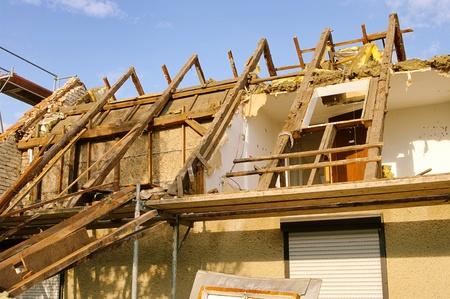 demolish: roof truss demolish  Editorial