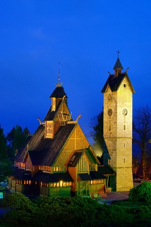 black giant mountain: Karpacz church Vang  Stock Photo