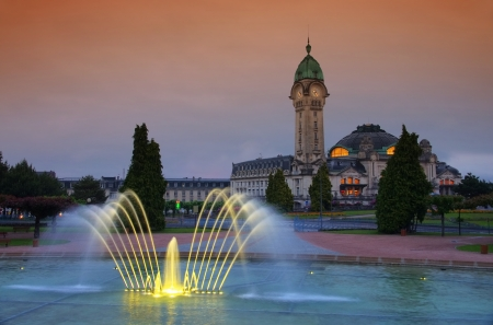 Limoges station by night 03 写真素材