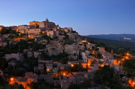 Gordes at night photo