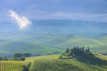 podere: Tuscany house in fog  Stock Photo