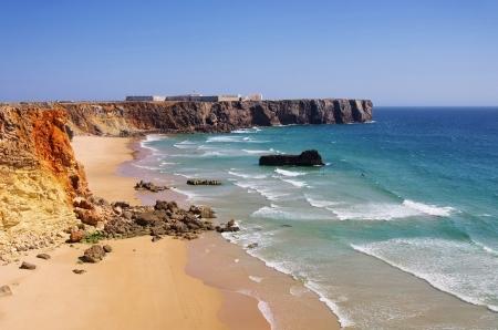 barlavento: Algarve beach do Tonel fortress  Stock Photo