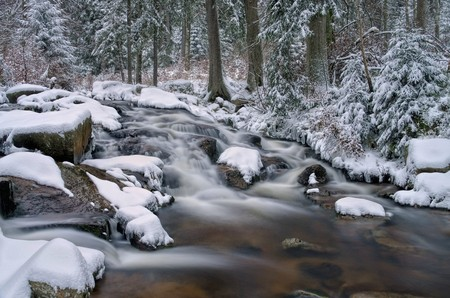 waterfall river Bode in Winter photo