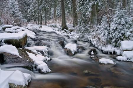 bode: waterfall river Bode in Winter