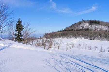 Erz: mountain Geisingberg in Winter Stock Photo