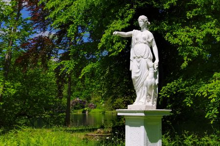 realm: English Grounds of Woerlitz Diane statue Stock Photo