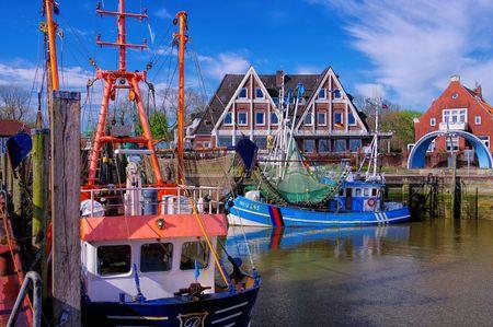 shrimp boat: Neuharlingersiel Harbour Editorial
