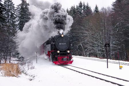 the Brocken railway in winter